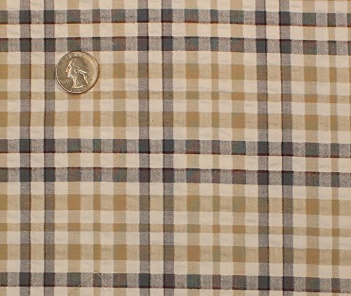 Cotton Stretch Seersucker Plaid Fabric, Seerssucker Plaid Fabric, Seersucker Shirting Fabric - IVORY/TAN - Plaid Fabric Seersucker