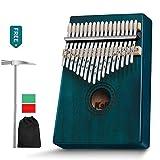 AKARY 17 Key Kalimba Thumb Piano, African Mbira Finger Piano Percussion Keyboard Portable Music Instrument Key C (Blue)