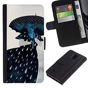 LASTONE PHONE CASE / Lujo Billetera de Cuero Caso del tirón Titular de la tarjeta Flip Carcasa Funda para Samsung Galaxy Note 4 SM-N910 / Rain Sad Gray Lady Woman