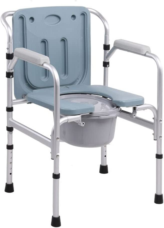 Folding Commode Chair with Padded Toilet Seat Bathroom Anti-Slip Adjustable Height Bathroom Shower Stool Elderly Person/Pregnant Woman/Handicapped Person Potty Chair 51J5wsaVgdLSL1024_