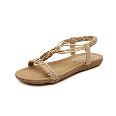 Women's Fashion Skidproof Jeweled Leather Thong Sandals