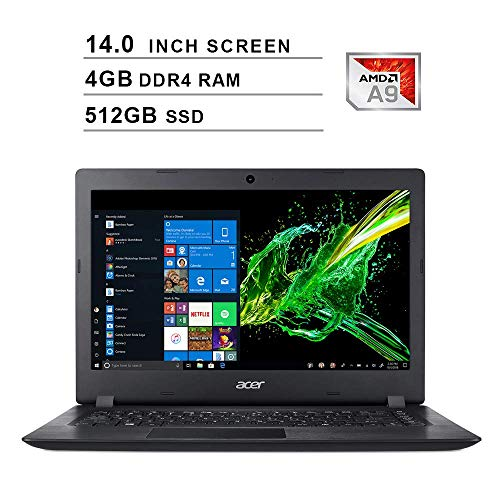 2019 Newest Acer Premium Aspire 3 14 Inch Laptop (AMD A9-9420e 1.8GHz up to 2.7GHz, 4GB DDR4 RAM, 512GB SSD, AMD Radeon…