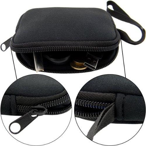 Shells Classy Black Color Neoprene Soft Multi-functional Key Bag Card Bag Coin Purse USB Cable Bag (Neoprene Soft Shell)