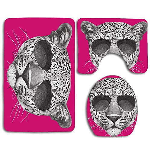 EnmindonglJHO Hipster Leopard with Aviators Sunglasses Portrait Cool Wild Animal Illustration 3pcs Set Rugs Skidproof Toilet Seat Cover Bath Mat Lid Cover Cushions Pads