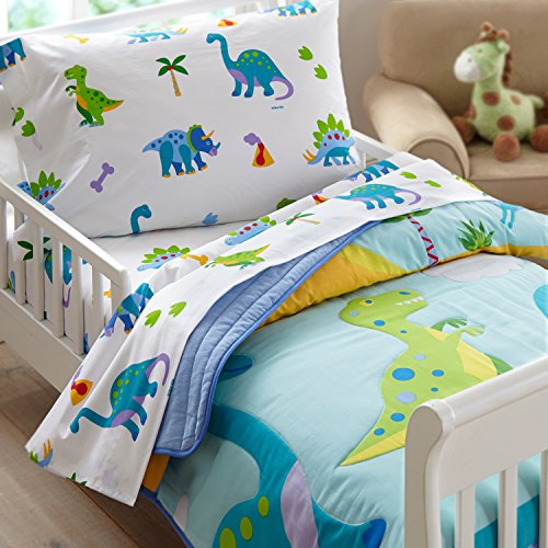 Wildkin Lightweight Toddler Comforter, 100% Cotton Toddler Comforter with Soft Flannel Lining and Embroidered Details, Coordinates with Other Room Décor, Olive Kids Design – Dinosaur Land ()