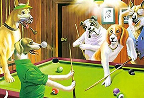 Dogs Playing Poker Poster. Holographic Wall Art. Lenticular Artwork. Hologram Dogs Playing Pool By Those Flipping -