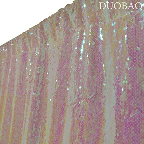 DUOBAO Sequin Backdrop Curtains 2 Panels 4FTx8FT Reversible Sequin Curtains Iridescent White and White Mermaid Sequin Curtain for Wedding Backdrop Party Photography Background by DUOBAO (Image #2)
