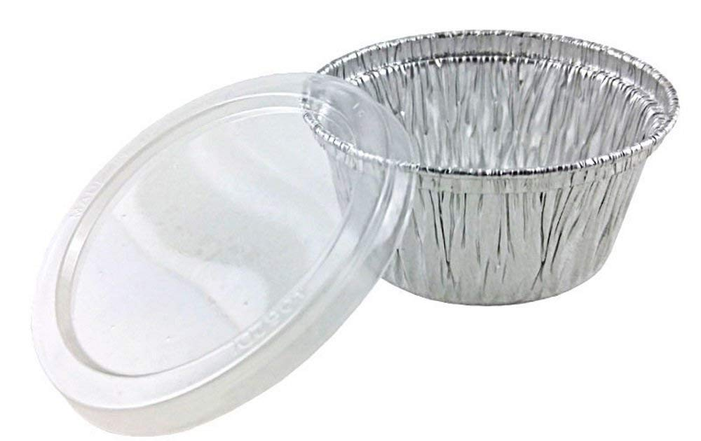 Pactogo 4 oz. Aluminum Foil Cup w/Clear Plastic Lid - Disposable Utility/Cupcake/Ramekin/Muffin Baking Tins (Pack of 300 Sets)