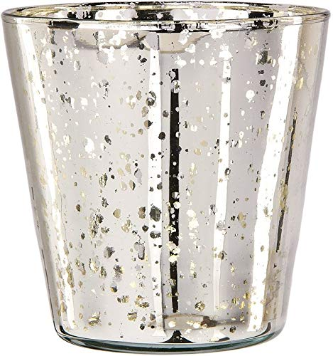 Luna Bazaar Vintage Mercury Glass Vase (4-Inch, Jenna Design Cup, Silver, Set of 2) - Decorative Flower Vase - for Home Decor, Party Decorations, and Wedding Centerpieces