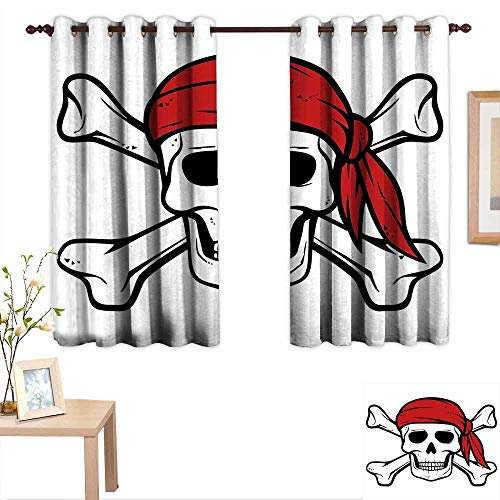 Luckyee Pirate Queen Size Waterproof Window Curtain Dead Pirate Skull and Crossbones Red Bandana Scary Bandit Warning Icon Piracy 63