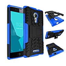 Qiaogle Phone Case - Shock Proof TPU + PC Hybrid Armor Stents Case Cover for Alcatel One Touch Flash 2 (5.0 inch) - HH11 / Black & Blue