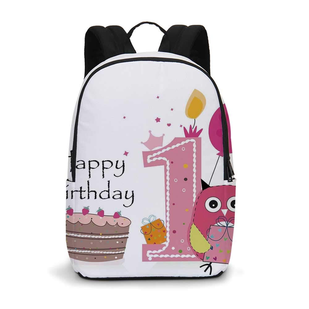 1st Birthday Decorations Modern simple Backpack,First Birthday Cake Candle Sketchy Cartoon Owl Image for school,11.8''L x 5.5''W x 18.1''H