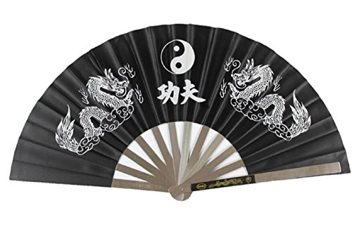 Stainless Steel Black Tai chi Kung fu Fan Martial arts Equipment Wushu Weapons FFP401H16C997