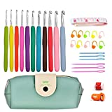 11 Sizes Crochet Hooks Set with Case,2mm to 8mm DIY Weave Yarn Kit Set,TPR Soft Rubber Handle and Aluminum Knitting Needle,19 Crochet Accessories (30pcs set)