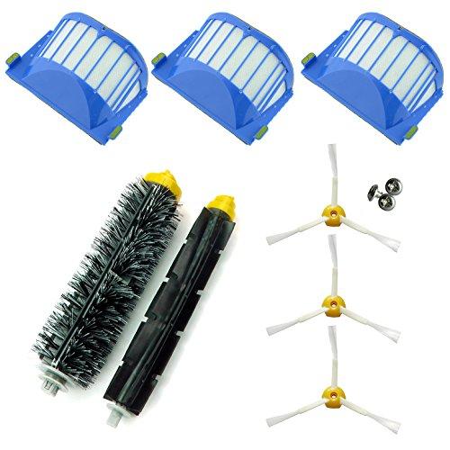 ASP-ROBOT Recambios Roomba serie 600 610 620 621 630 650 651 655 660 661 PET. 3 x Filtro, 3 x cepillo lateral, 1 x rodillo central y accesorios.