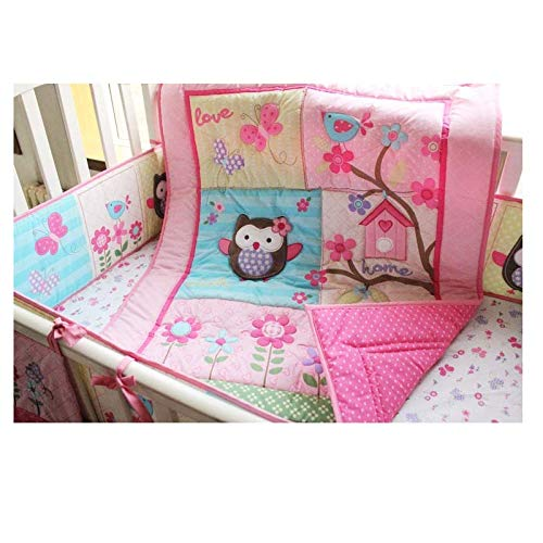 Brandream Crib Bedding Sets for Girls Pink Owl Floral Baby Nursery Bedding with Bumpers 100% Breathable Cotton