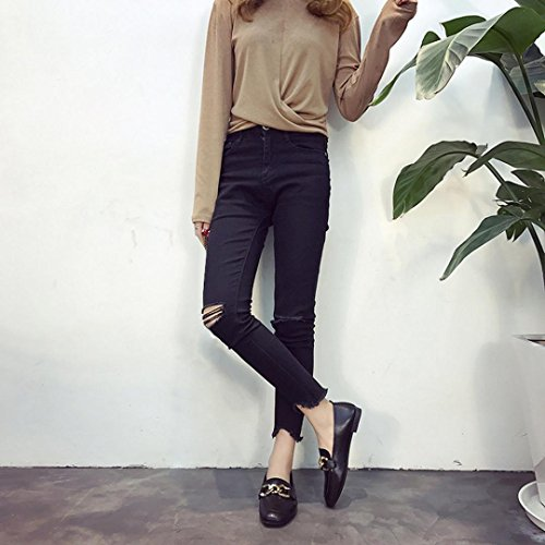 Shoes Flat Retro Shallow Mouth hunpta Shoes Flat Flat Solid Black Shoes Heel Casual Women Color qxC7ACw