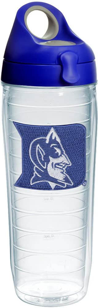 Tervis Duke Devils Logo Insulated Tumbler with Emblem and Blue with Gray Lid, 24oz Water Bottle, Clear