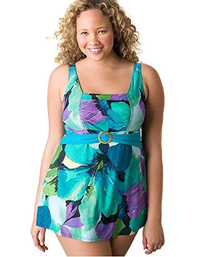 Lane Bryant Women's Watercolor Swim Dress Plus Size Swimsuit, Green , 20 from Lane Bryant