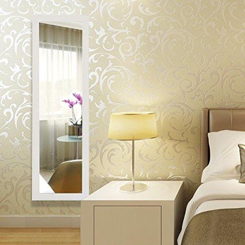 Songmics Schmuckschrank Spiegelschrank Türmontage/Wandmontage abschließbar mit LED Beleuchtung 120 cm hoch JBC93W -