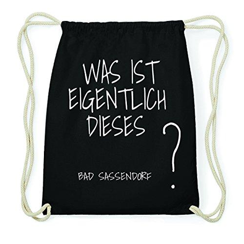 JOllify BAD SASSENDORF Hipster Turnbeutel Tasche Rucksack aus Baumwolle - Farbe: schwarz Design: Was ist eigentlich