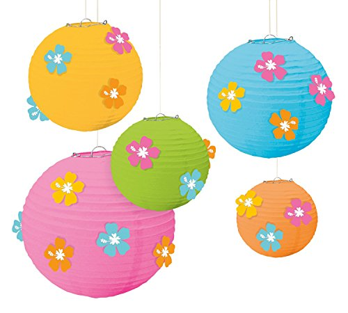 Amscan Sun-Sational Summer Luau Round Lanterns with Hibiscus Add-Ons (5 Pack), Multi Color, 12 x 11
