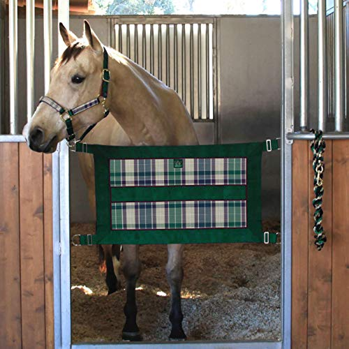 Kensington Protective Products Stall Guard for Horses 34 1/2 inches x 12 - Aisle Guard to Secure Horses - Made of Textilene - w/Adjustable Strap and Complete Hardware (Deluxe Hunter Plaid)