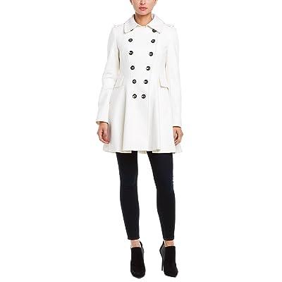 Via Spiga Womens Winter White Double Breasted Wool-Blend Skating Coat, 10, White