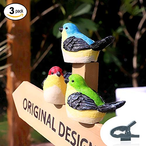DANDI Solar Powered Pack of 3 Birds. Night Glowing Multi-color Figure Decoration | Clips for Trees and Fences | Auto On/Off | Outdoor Landscape Lighting Decor For Garden, Patio, Porch, Yard