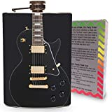 Guitar Flask Stainless Steel 8oz Silver Metal Hip Flasks for Drinking Spirits Whiskey Vodka Gin Bourbon Rock and Roll Music Black Electric Guitars Musician Gifts w/ Gift Box