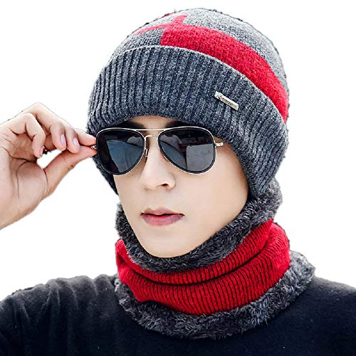 2-Pieces Beanie Hat Scarf Set Winter Warm Fleece Lined Skull Cap and Scarf for Men Women ()