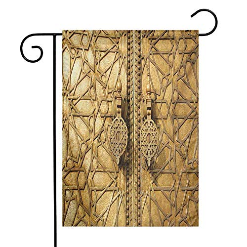 Moroccan Garden Flag Main Gates of Royal Palace in Marrakesh Morocco Travel Tourist Attraction Photo Decorative Flags for Garden Yard Lawn W12 x L18 Pale Brown