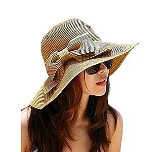 Straw Sun Hat Women Floppy Wide Brimmed Sun Visor Summer Beach Sun Hat UPF 50+ Korean Style