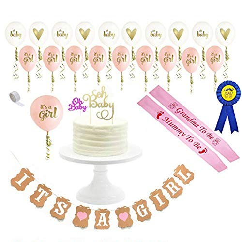 Baby Shower Decorations Strung Banner (OH BABY) & 20PC Balloons with Ribbon [Gold, Confetti, White] Kit Set | Hang on Wall | Glitter Unisex Pregnancy Announcement It's A Girl Baby Shower Party