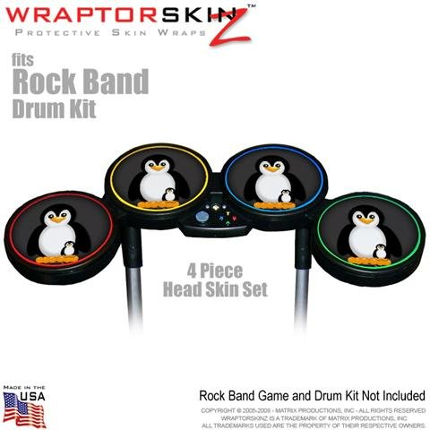 Penguins on Black Skin by WraptorSkinz fits Rock Band Drum Set for Nintendo Wii, XBOX 360, PS2 and PS3 (DRUMS NOT INCLUDED), Best Gadgets