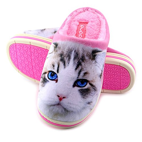 Cute Funny Unisex Animal Cartoon Pattern Winter Warm Thick Slipper Kitty