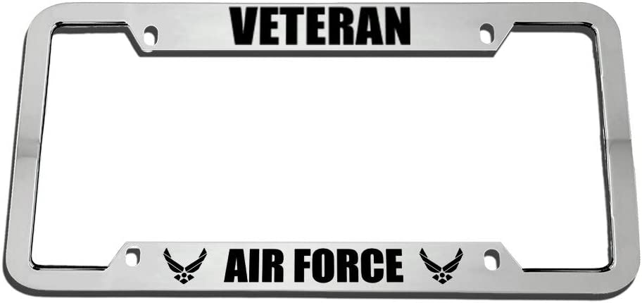 Speedy Pros Veteran Air Force Zinc Metal License Plate Frame Car Auto Tag Holder Chrome 4 Holes