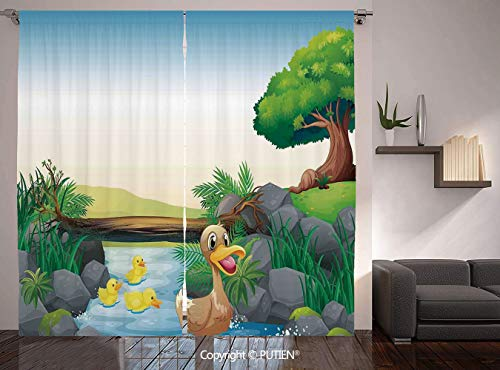Thermal Insulated Blackout Window Curtain [ Duck,Cartoon Mother and Ducklings River Kids Fun Farm Animals Print Outdoor Little Feathers,Multicolor ] for Living Room Bedroom Dorm Room Classroom Kitchen