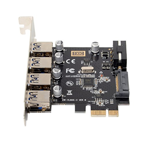 cablecc 4 Ports PCI-E to USB 3.0 HUB PCI Express Expansion Card Adapter 5Gbps for Motherboard