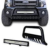 Black Bull Bar Push Bumper Protector with Removable Skid Plate + 126W Led Light Bar & Wiring Harness (04-14 Ford F-150/03-15 Expedition+126w light)