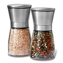 Salt and pepper mills, Allezola brushed stainless steel salt and pepper grinder set(pack of 2) with Adjustable Ceramic Coarseness grinder and glass body- Salt and Pepper Shakers