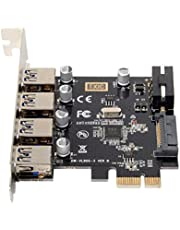 Cablecc PCI Express adapter, 4 poorten, USB 3.0, 5 Gb/s
