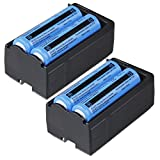 WishDeal 4 Pcs 3.7 V 3000 mAh Rechargeable Battery for LED Flashlight + 2 x Dual Chargers (Not AA OR AAA BATTERY)