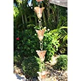 Mixed Petals Kanji Cups Rain Chain with Installation Kit - 15 Foot