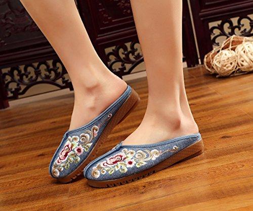Insun Damen Hausschuh Blume Stickerei Slipper Espadrilles Flats Freizeit Schuhe Blau