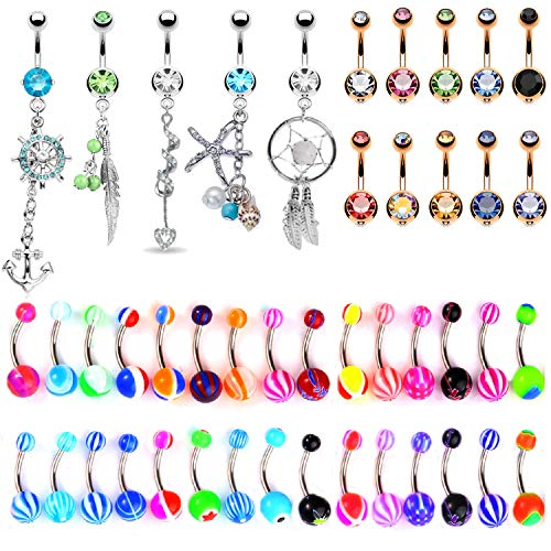 BodyJ4You 65 Belly Button Rings Dangle Bars 14G Acrylic Rose Goldtone Steel CZ Navel Jewelry Set