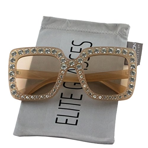 Elite Oversized Square Frame Bling Rhinestone Crystal Brand Designer Sunglasses For Women 2018 (Peach, 52)