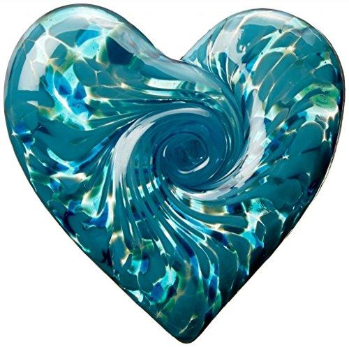 Handmade Glass Unusual Paperweight Art Glass 3 Art Garden Heart – Teal