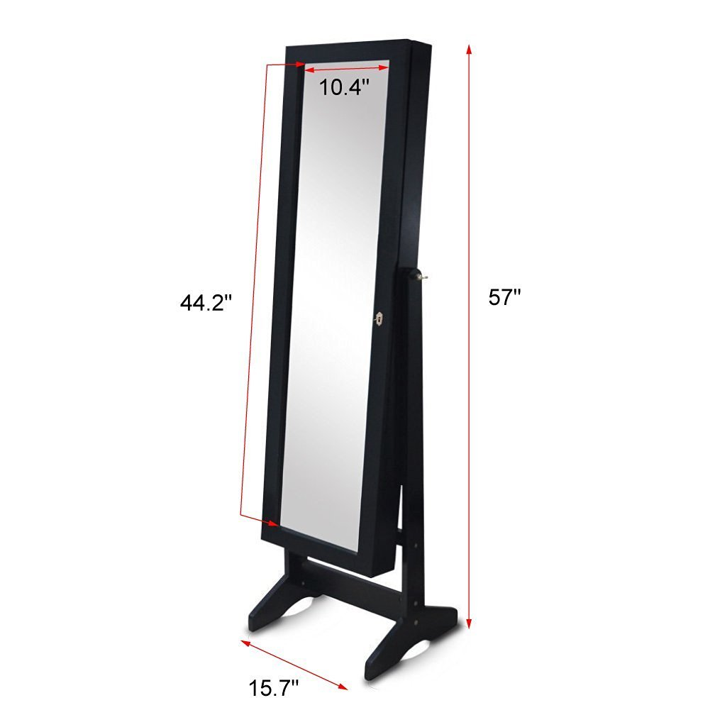 Organizedlife Black Free Standing Wall/Door-Mount Mirror Jewelry Armoire Cabinet For Dressing Room by Organizedlife (Image #9)