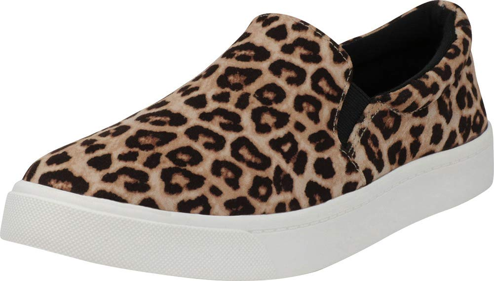 Cambridge Select Women's Classic Round Toe Stretch Slip-On Flatform Fashion Sneaker,8 M US,Oatmeal Cheetah IMSU by Cambridge Select